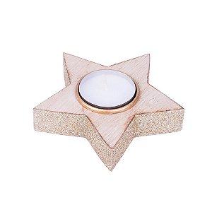 Porta velas estrela ouro em madeira F359206