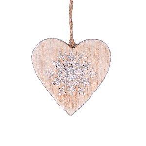 Coração com estrela de neve prata para pendurar em madeira F359213