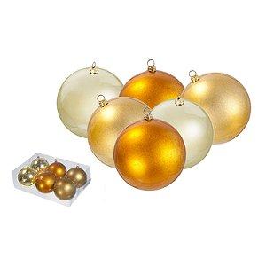 Caixa com 6 bolas tons ouro 10cm G107046