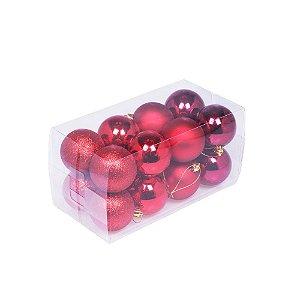 Bola em caixa tons vermelho 16pçs 8cm G109256