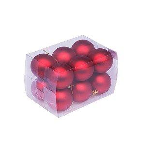 Bola em caixa vermelho fosco 12pçs 6cm G109257