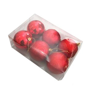 Bola natalina em caixa tons vermelho sortidas G109261