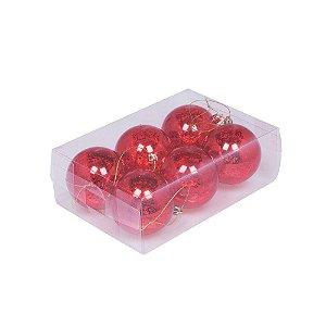 Caixa com 6 bolas vermelho craquelado 8cm G109263