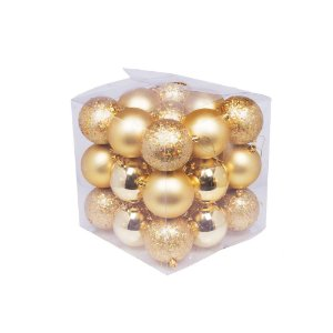 Caixa com 27 bolas tons ouro sortidas 8cm G109275