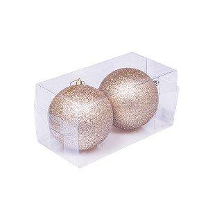 Caixa com 2 bolas champagne brilhante 12cm G109276