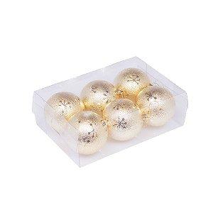 Caixa com 6 bolas ouro fosco com estrelas 8cm G109278