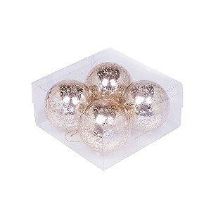 Caixa com 4 bolas ouro matizado 10cm G109280