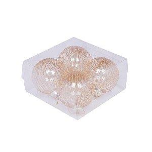 Caixa com 4 bolas transparente com reflexos ouro 10cm G109281