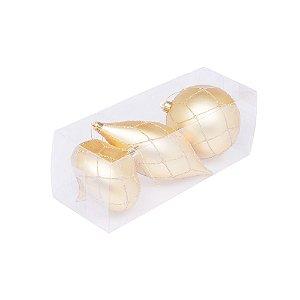 Caixa com 3 bolas ouro sortidas 10cm G109282