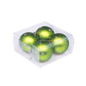Caixa com 4 bolas verde com pedrinhas 8cm G109283