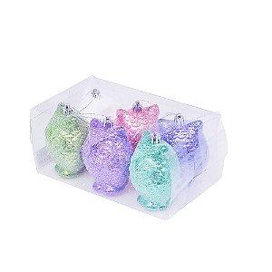 Caixa com 6 corujas candy colors 9cm G109284