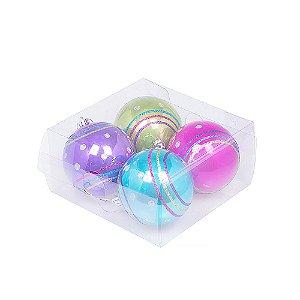 Caixa com 4 bolas tons candy colors sortidas 10cm G109286