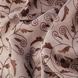Tecido linho design folhas e arabescos sage C206575