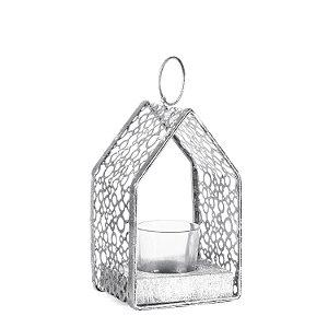 Casinha Porta vela prata em metal F358711