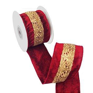 Fita em seda burgandy com bordado dourado A109388