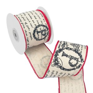 Fita em algodão cru com escritos e borda vermelha A109394