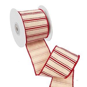 Fita em algodão cru com listras e bordas vermelha A109395