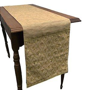 Caminho de mesa em seda para mesa com pedrarias douradas C209368