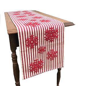 Caminho de  mesa em algodão listrado com estrelas de neve vermelhas C209371