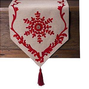 Caminho de  mesa em algodão com bordado vermelho C209372