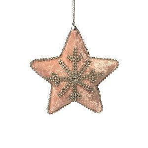Pingente estrela em veludo rosa com strass F39373