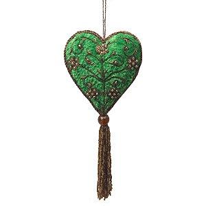Pingente coração em veludo verde com pedrarias F359378
