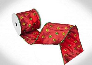Fita tafeta vermelha bordada poá verde A107981