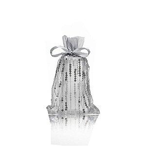 Bag em voil prata com lantejoulas 24x15cm B155375