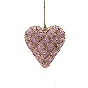 Coração em veludo rose c/pedrarias e strass p/pendurar  F359674