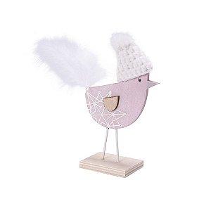 Perfil pássaro rosa com pluma em madeira P F359497