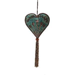 Coração azul royal c/pedrarias marrom e tassel p/pendurar F359681