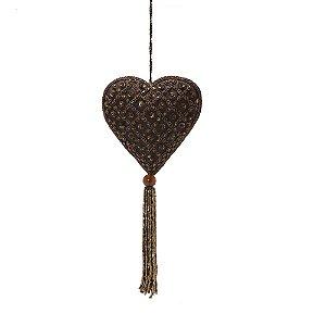 Coração marrom c/pedrarias xadrez e tassel p/pendurar F359684
