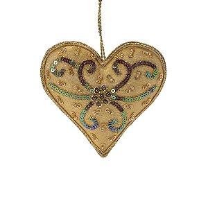 Coração amarelo ouro c/pedrarias p/pendurar F359689