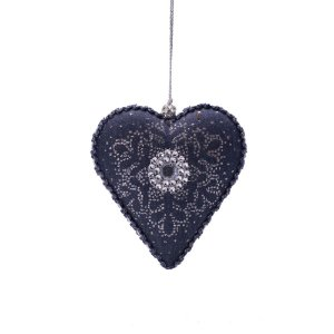 Coração azul marinho c/pedrarias p/pendurar F359691