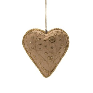 Coração bege c/bordado ouro p/pendurar F359696