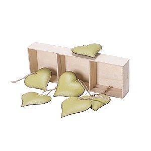 Caixa com 6 corações Verde para pendurar em metal F359595