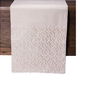 Caminho de mesa off white c/bordado em prata C209720