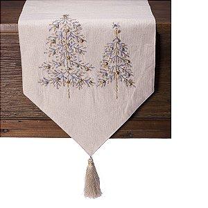 Caminho de mesa branco c/arvores de natal bordadas c/guizo e tassel C209723