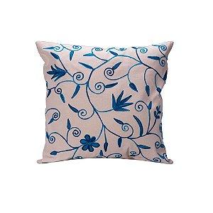 Capa de almofada off white c/bordados azuis C209746