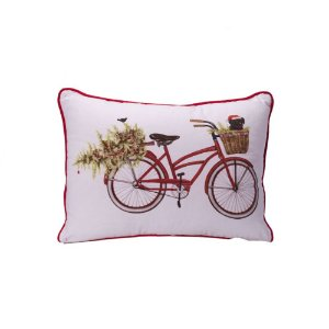 Capa de almofada bicicleta de natal C209749