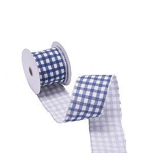 Fita aramada xadrez branco e azul jeans A109834
