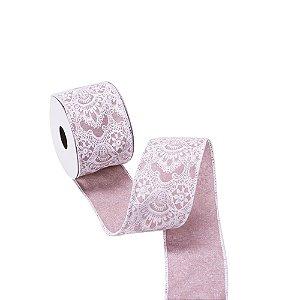 Fita aramada rose print renda branca A109836