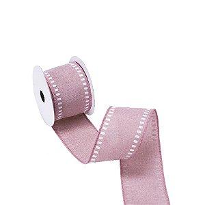Fita aramada linho rose c/detalhes quadrados em branco A109842