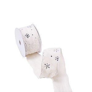 Fita aramada pelucia bege c/estrelas de neve prata A109855