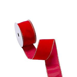 Fita aramada veludo vermelho c/borda ouro A109896