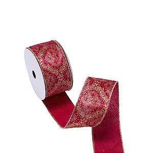 Fita aramada veludo vermelha c/medalhões ouro A109903
