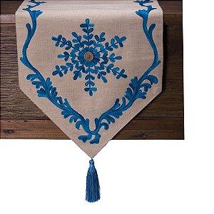 Caminho de mesa cru bordados tons azul C209754