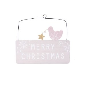 Placa Merry Christmas com pomba tons pastel em madeira F359493