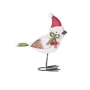 Pássaro branco com gorro em madeira M F359572