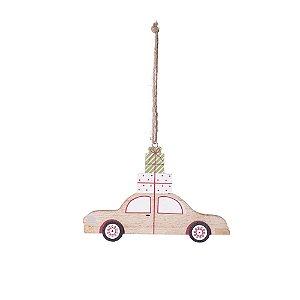 Carro com presente para pendurar em madeira F359579